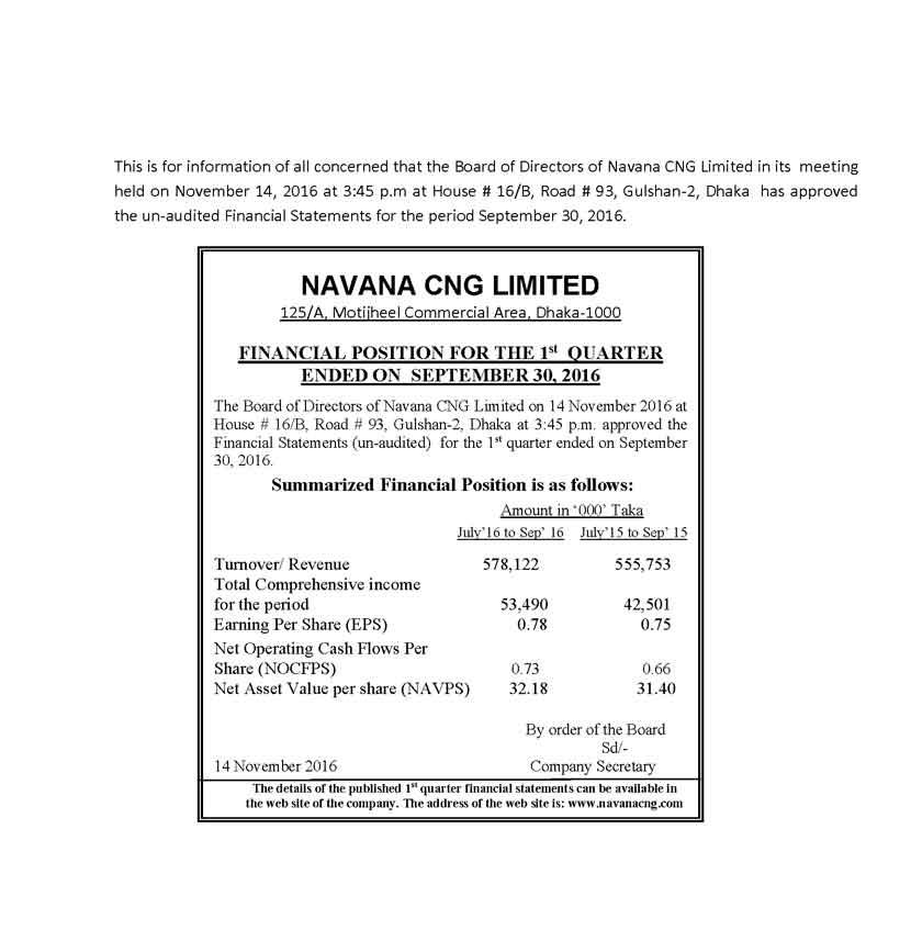 নাভানা সিএনজি লিমিটেডের ১ম প্রান্তিকের মূল্যসংবেদনশীল তথ্য